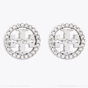 Tory Burch-silver crystal earrings